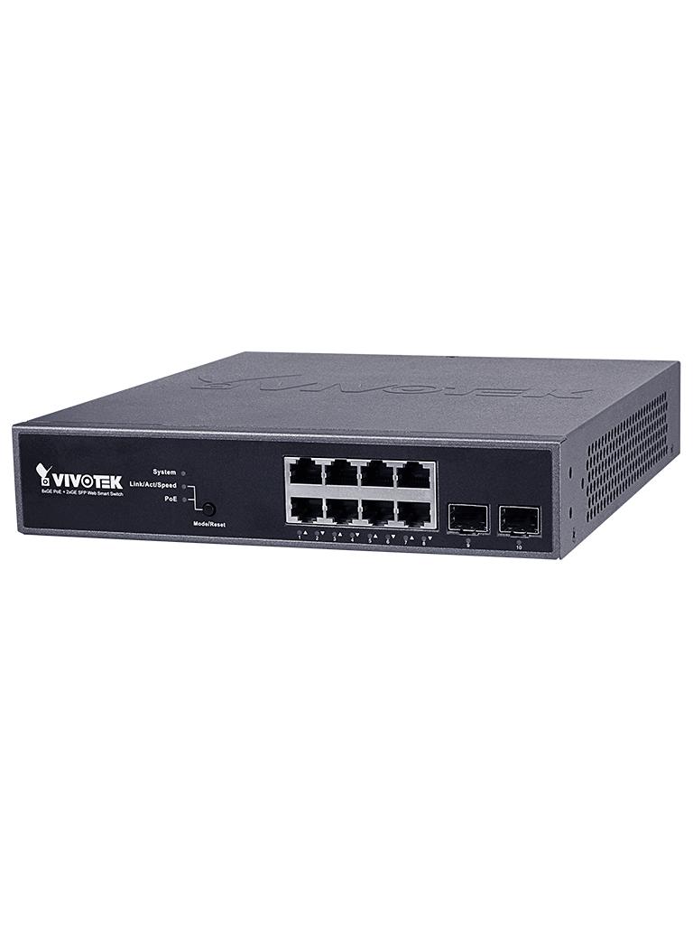 VIVOTEK AWGEV104B130 - Switch  Gigabit  PoE 8 puertos GE / 2 Puertos GE SFP / 130W Totales / WEB Smart / 30W Por puerto / VIVOCAM/ #Ciberseguridad