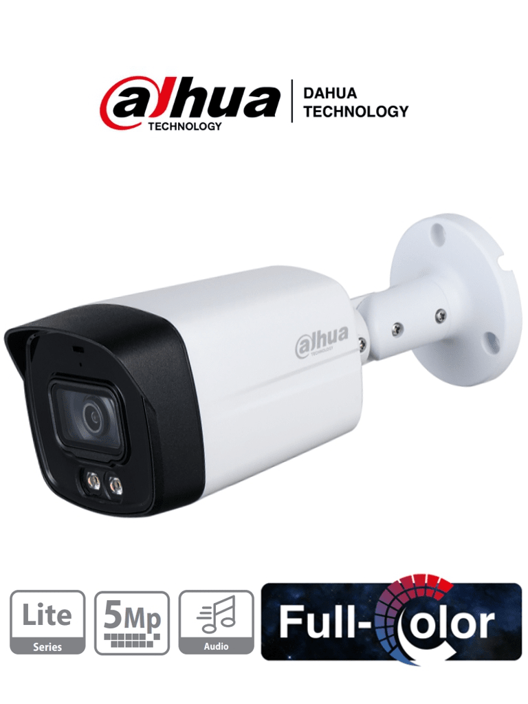 DAHUA HFW1509TLM-A-LED - Camara Bullet Full Color de 5 Megapixeles/ Lente de 3.6mm/ Microfono Integrado/ Luz Blanca de 40 Mts/ Starlight/ IP67/  Metal+Policarbonato/ #FullColor