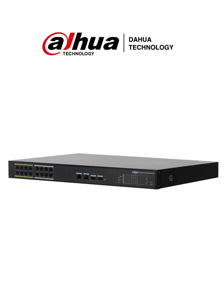 DAHUA LR2218-16ET-240 - Switch PoE 16 puertos/ 8 Puertos ePoE Hasta 800 Mts con Cámaras ePoE/ 240 Watts/ Switching 8.8G/ 802.3af/ 802.3at/ HI-PoE/ 2 Puertos Combo SFP/ #Proyectos