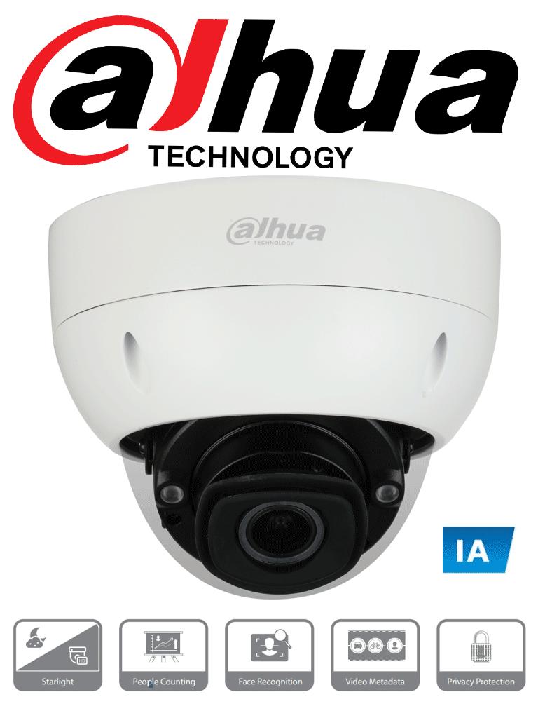 DAHUA IPC-HDBW7442H-Z4FR - Camara IP Domo con Inteligencia Artificial 4 Megapixeles/ H.265/ Reconocimiento Facial/ WDR de 140dB/ Lente Mot. de 8mm a 32mm/ IR 80 Mts/ IP67/ IK10/