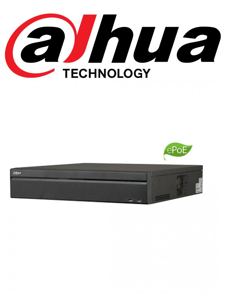 DAHUA NVR5864P4KS2E - NVR 64 Canales IP 4K / H265+ / Rendimiento 320 Mbps / 2  HDMI / 8 Puertos con tecnologia EPoE hasta 800M / 16  PoE / 8 SATA / DEWARPING