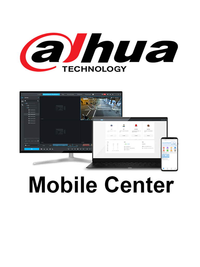 DAHUA MOBILE CENTER 01 CH - Licencia individual para 1 Canal de video Mobile Center/ Solución Móvil Dahua / Windows 10 / SOBRE PEDIDO