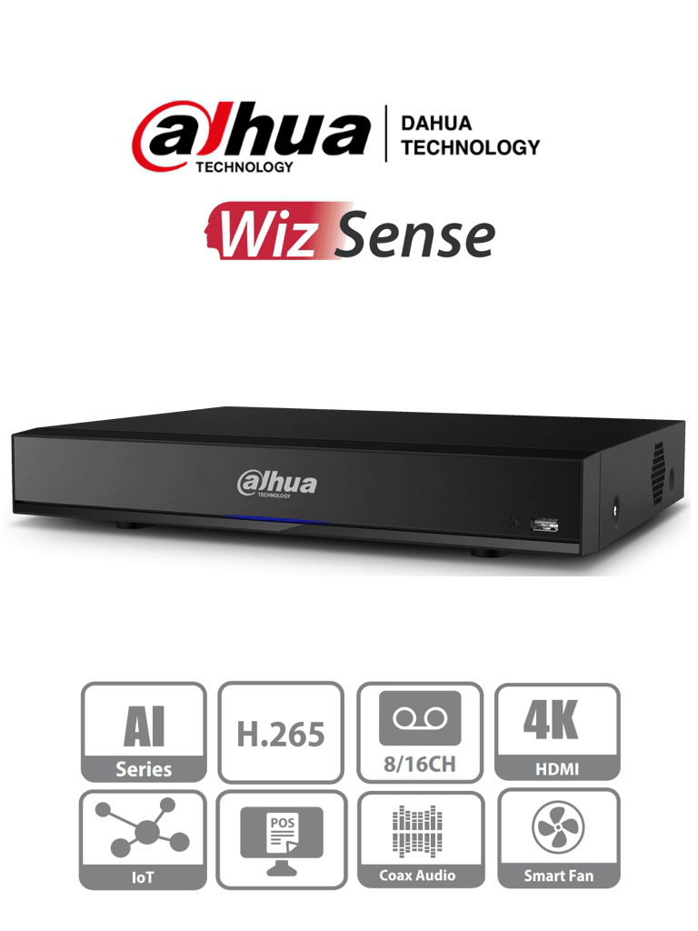 DAHUA XVR7116HE-4KL-I - DVR de 16 Canales 4k con Inteligencia Artificial/ H.265+/ 2 Canales de Reconocimiento Facial/ Protección Perimetral/ 16&3 E&S de Alarma/ 1 Bahia de Disco duro hasta 10 TB/ 16 Canales IP Adicionales 16+16/ 16 E de Audio/ #DIEZ