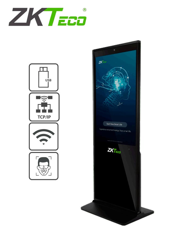ZKTECO FaceKiosk-V43 - Pantalla publicitaria con control de asistencia facial Luz Visible /  LCD de 43 Pulgadas / Touch / Vídeo / Imágenes / Audio / Rostros 5000 / 4G RAM /  WiFi /  #SinContacto