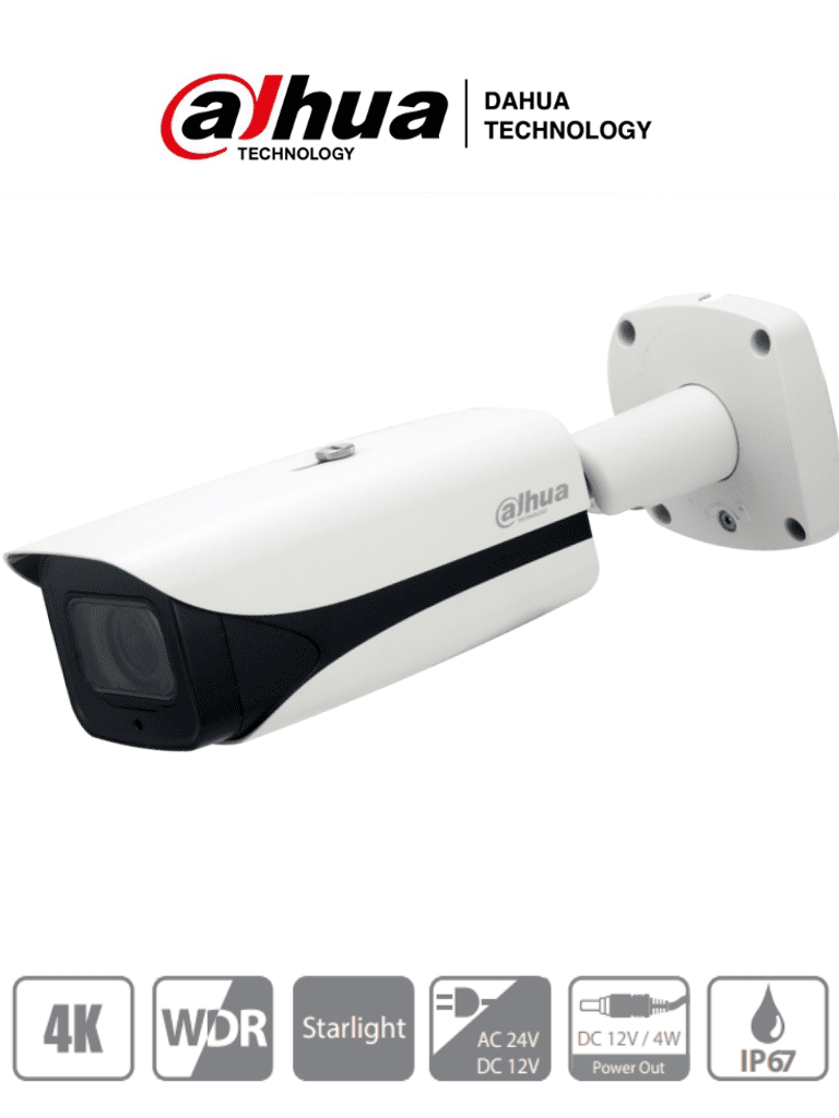 DAHUA HFW3802E-Z-VP - Camara Bullet de 8 Megapixeles/ 4K/ Lente Mtorizado de 3.7 mm a 11 mm/ IR de 100 Mts/ WDR Real de 120 dB/ Voltaje Dual12vdc/24vac/ 1 Salida de 12VDC 4W/ IP67/IK10/ 1 Canal de Audio/ 2&1 E&S de Audio/ #CamarasDahua #ExpoTVC