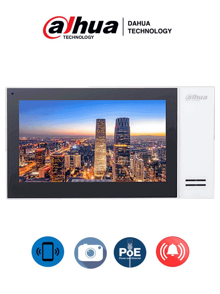 DAHUA VTH2421FWP- Monitor IP touch de 7 pulgadas / PoE STANDAR / Llamada en grupo / Ranura MicroSD / 6 Entradas de alarma/1 salida alarma / Hasta 20 frentes de calle/ #VDPDahua