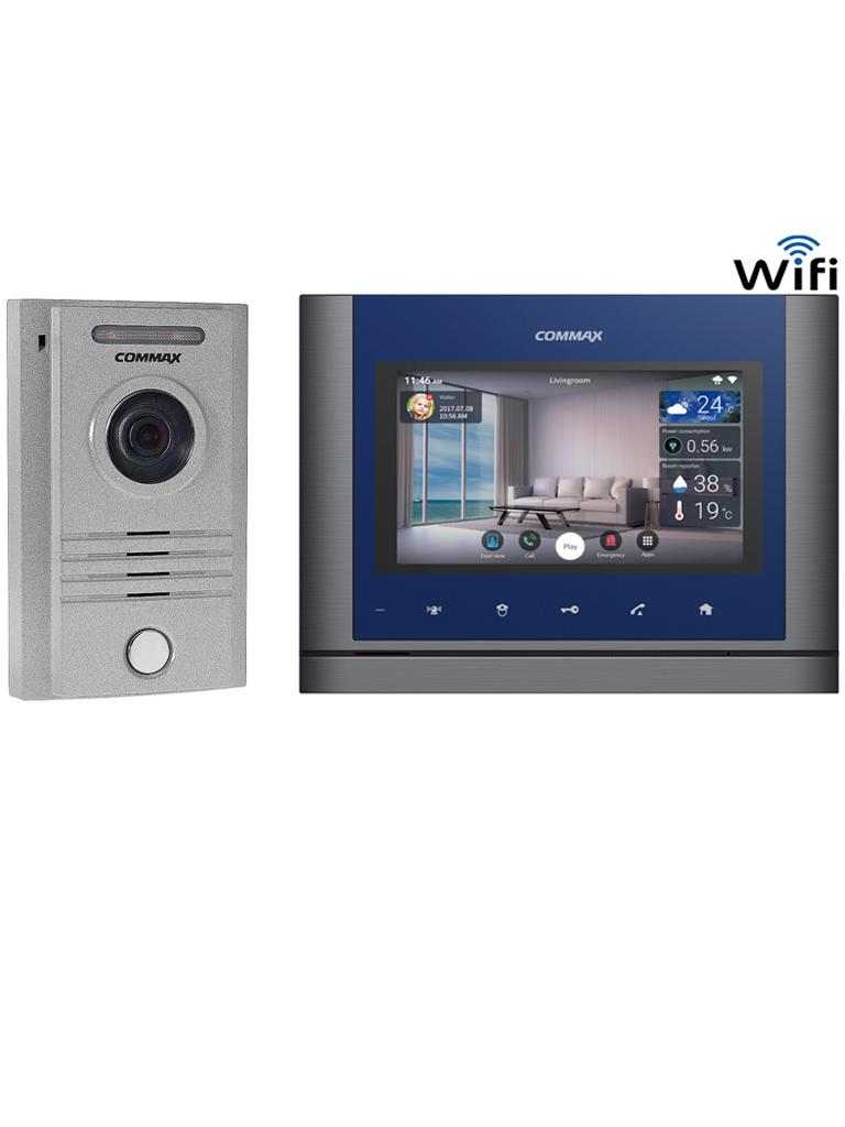 COMMAX DRC40KCMV70MX - Paquete de frente de calle a 4 hilos para exterior y monitor  WiFi touch de 7 pulgadas para notificaciones a celular