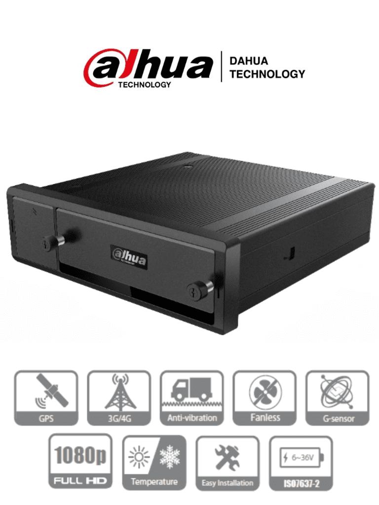 DAHUA DHI-MXVR4104-GC - DVR Movil de 4 Canales HDCVI 1080p+ 4 Ch IP/ H.265/ GPS/ 3G/ Soporta 1 HDD de 2.5 Pulgadas+ 1 Tarjeta SD/ Soporta HDCVI/AHD/TVI/CVBS/IP/  No incluye Modulo WiFi/ #LoNuevo