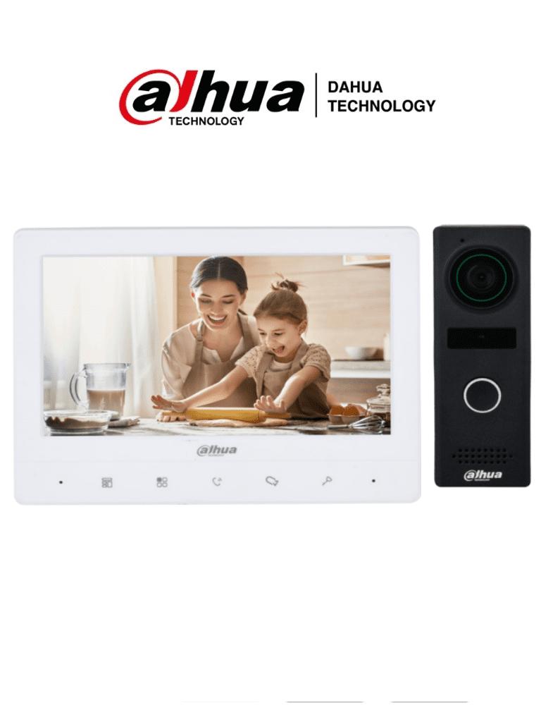 DAHUA DHI-KTA02M - Kit de Videoportero Analogico con Frente de Calle Metalico/ Monitor de 7 Pulgadas TFT/ 1024x600/ Frente de Calle con Camara de 1.3 MP/ DWDR/ IR Automatico/ 1 Entrada y Salida de Audio/ Soporta Boton de Salida/