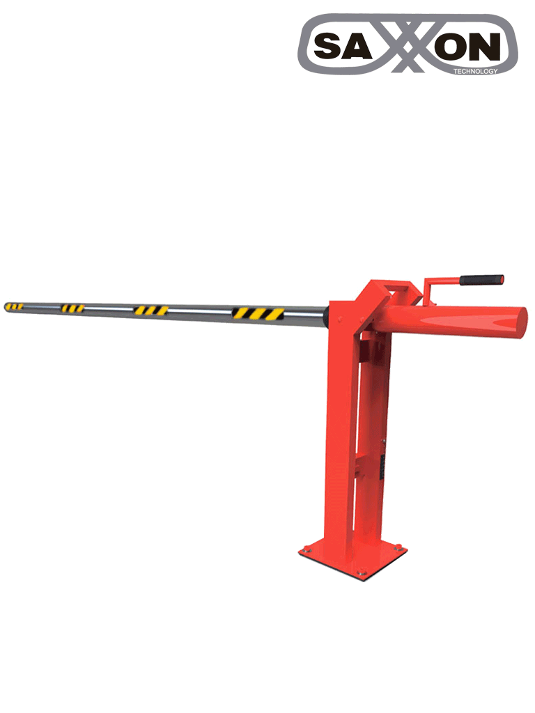 SAXXON EH60L - Barrera manual para control de acceso vehicular / 6 Metros / Brazo de aluminio / REFLEJANTES / Color rojo