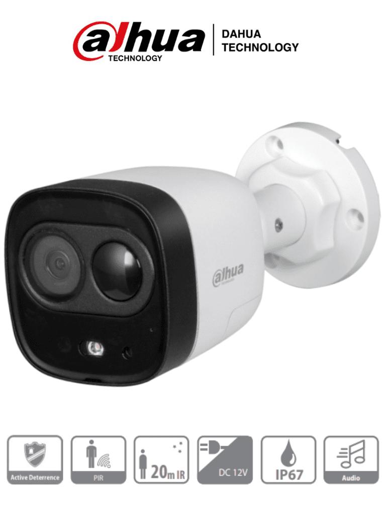 DAHUA ME1200D - Camara Bullet con Disuasion Activa 1080p/ 2 Megapixeles/ Lente 2.8 mm/ IR de 20 Mts/ PIR 15 Mts/ Microfono Integrado/ Sirena & Luz Blanca/ IP67/