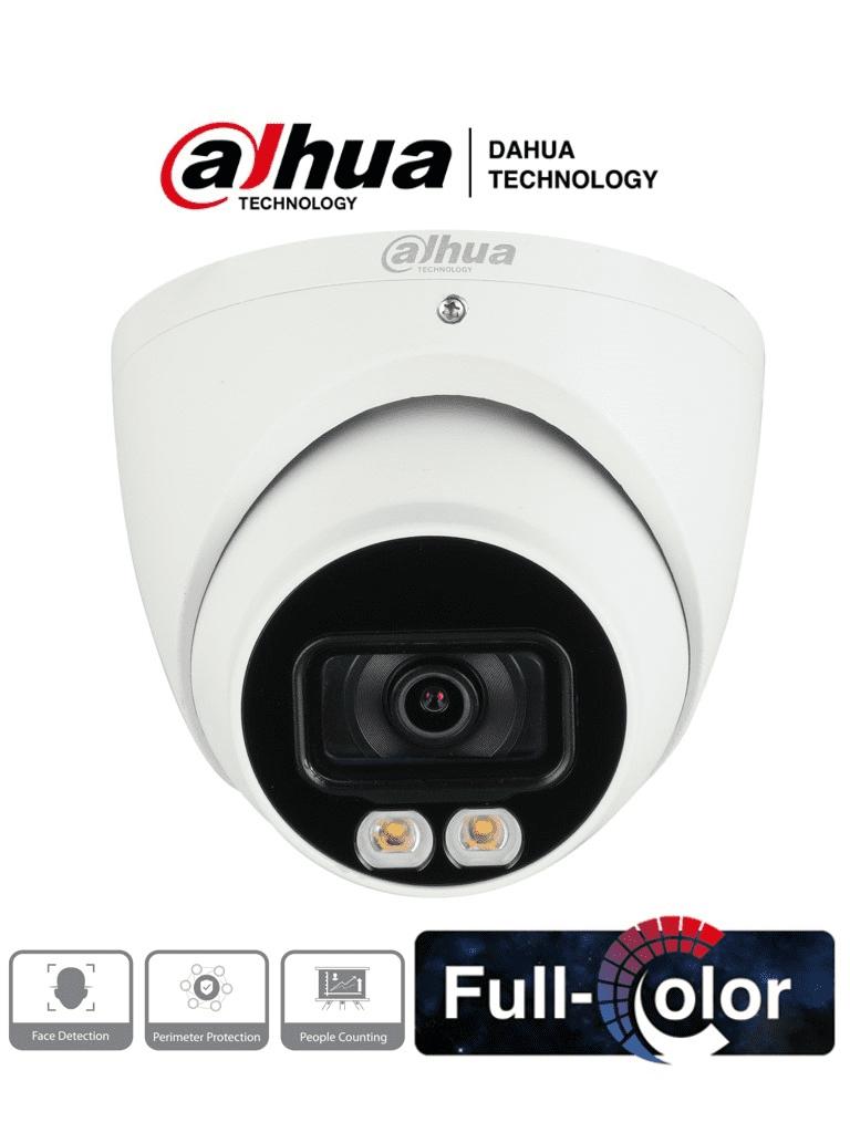DAHUA IPC-HDW5442TM-AS-LED - Camara IP Domo Full Color 4MP/ Lente de 2.8mm/ 113 Grados/ H.265/ Inteligencia Artificial/ Leds de 40 Mts/ Microfono integrado/ IP67/ Detección de Rostros/ Protección Perimetral/ Conteo de Personas/ #Proyectos