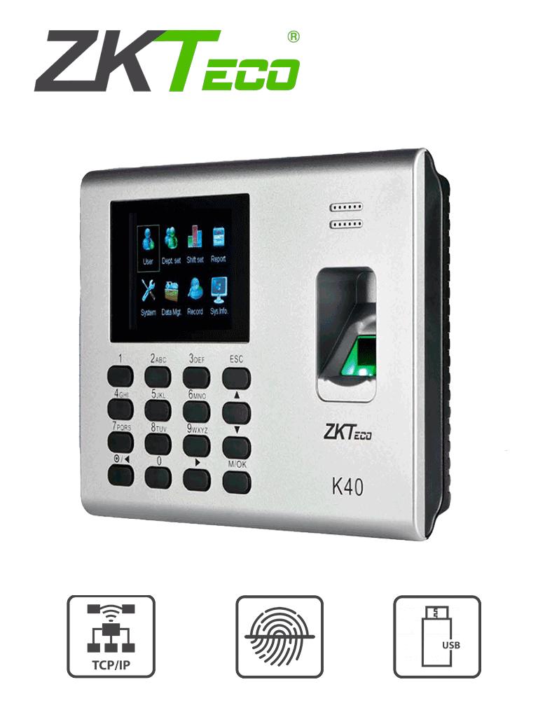 ZKTECO K40 - Control de Acceso y Asistencia Simple / 1000 Huellas / TCPIP / Descarga de  USB en Hoja de Cálculo / 2 Horas de Respaldo