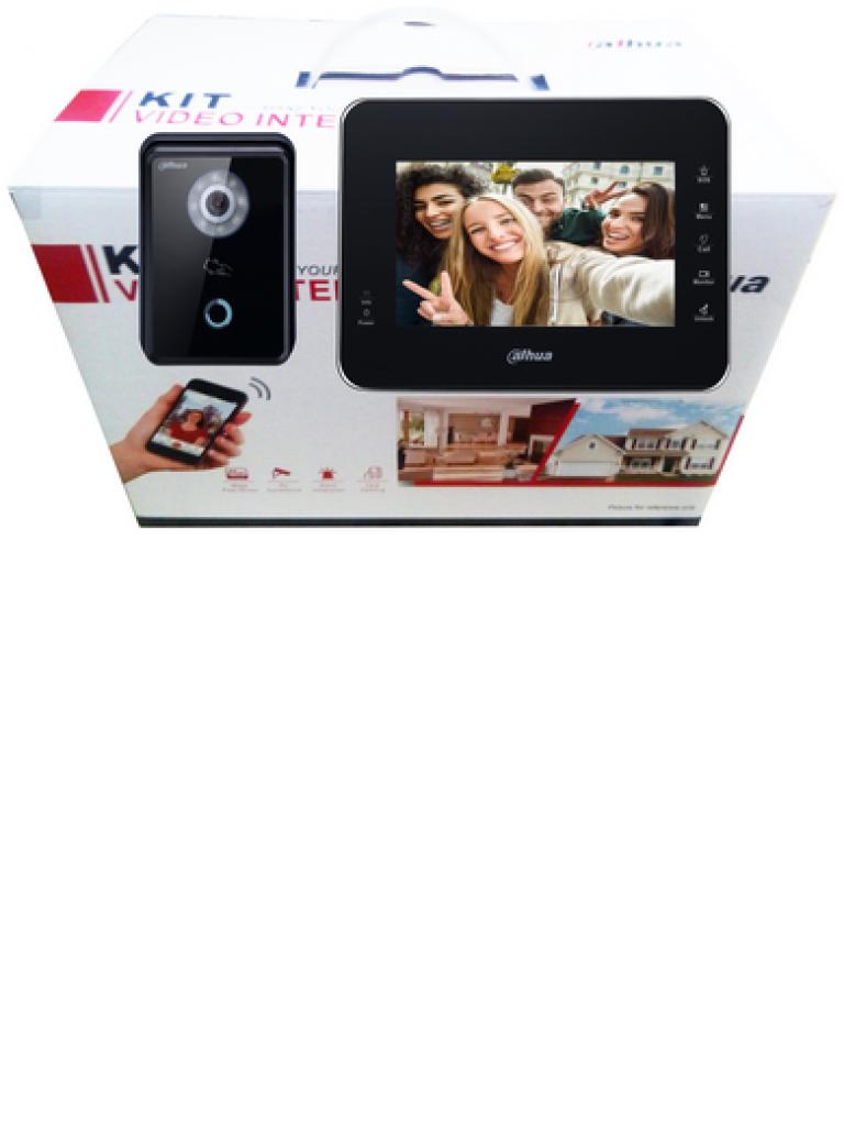 DAHUA KITVTH1560B6210B - Frente de calle IP y monitor /  LCD Touch de 7 pulgadas / Camara 1  MP / Ranura SD 4GB /  IP65 / Soporta 8 sensores de alarmas