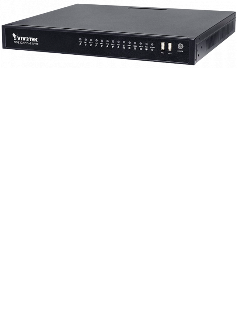 VIVOTEK ND8322P - NVR / 8 Canales  PoE AF 80  Watts / Auto SETUP / Hasta 2  HDD / Salida  HDMI / PLUG & PLAY