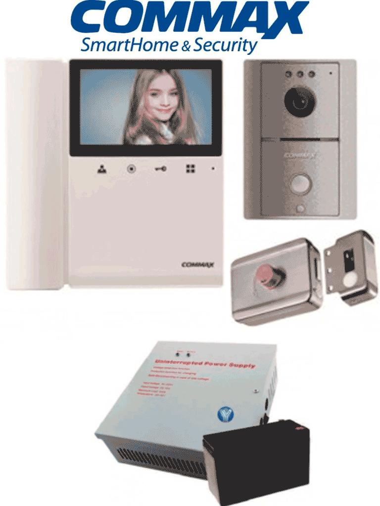 COMMAX VDPPACK - Solucion de videoportero frente de calle y monitor, cerradura inteligente modelo ABK703BS, gabinete de energia con salida de 12VDC incluye bateria de respaldo de 12VDC a 7 AH