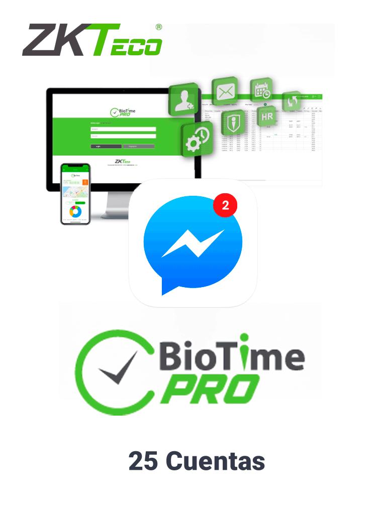 ZKTECO BIOTIMEPROMESSENGERP1 - Licencia vitalicia de 25 cuentas para notificaciones en tiempo real en Facebook Messenger