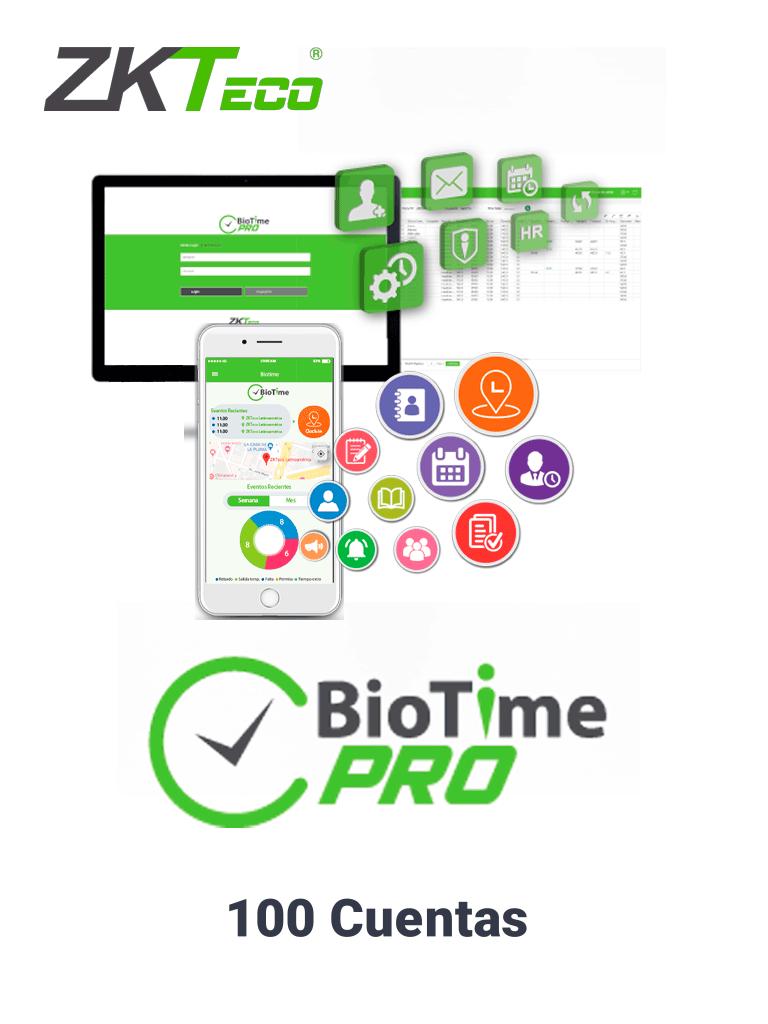 ZKTECO BIOTIMEPROAPPSTANDARD - Licencia Vitalicia de Aplicacion Móvil para uso de  BIOTIME PRO / Compatible con Celulares ANDROID o  iOS / Soporta 100 Cuentas