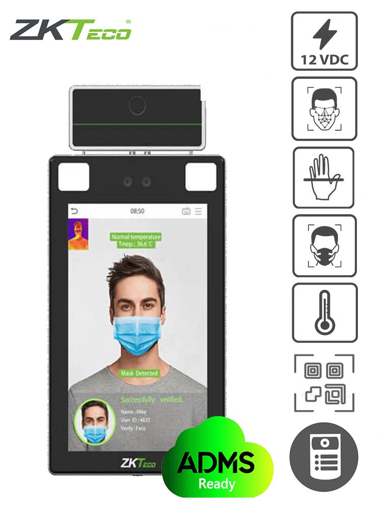 ZKTECO PROFACE X TI - Terminal de Control de Acceso y Asistencia Facial y Palma con Medición de Temperatura y Detección de Cubrebocas / Lectura de QR e Intercom / 30 mil Rostros / #COVID19  / #MTD / #ZKTop5 / #Monedero