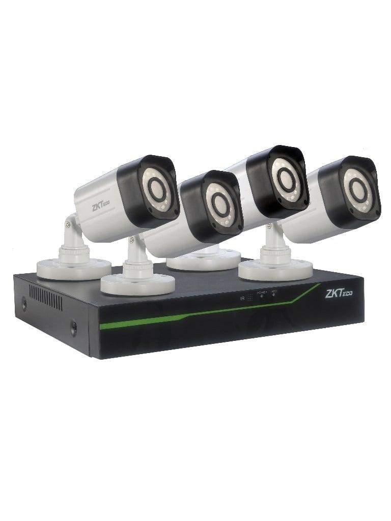 ZKTECO 3104XECLKITII- DVR 4 CANALES 1080P LITE/ P2P/ 4 CAMARAS POLICARBONATO BS31A11M/ 720P/ 2.8MM/ IP66 EXTERIOR/ ACCESORIOS