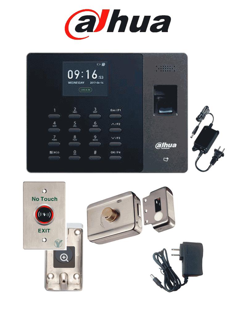 DAHUA ASA1222GPACK - Paquete de control de asistencia por validación de huella y tarjetas Mifare, cerradura magnética de 200 kg 600lb y su soporte para fijación en ZL y botón liberador no touch sin contacto #ExpoTVC