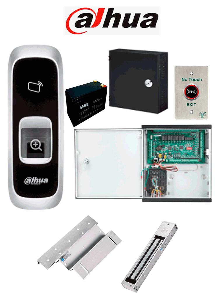 DAHUA ASC1204CACK - Paquete de control de acceso para controlar 4 puertas con lector de entrada con huella y tarjetas Mifare, 4 cerraduras magnéticas YLI de 280 Kg o 600 lb con soporte en ZL para instalación y 4 botones sin contacto para salida #ExpoTVC