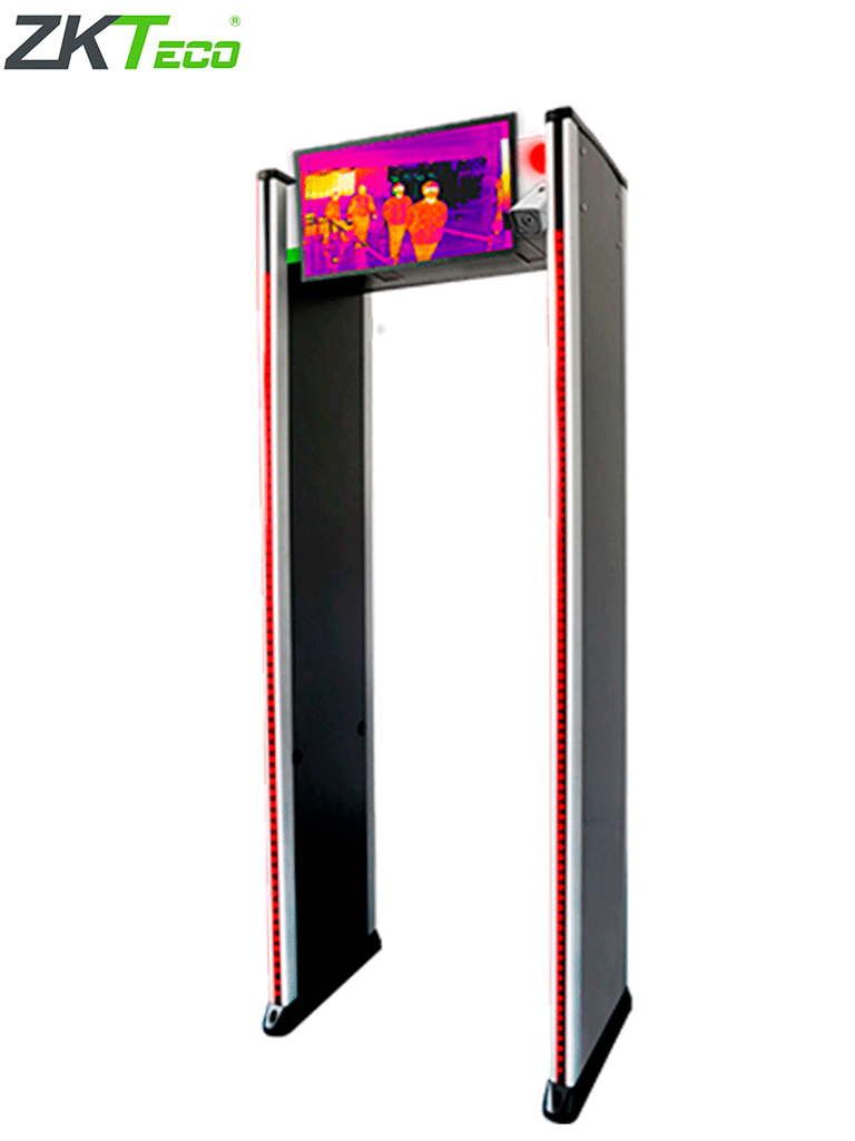 ZKTECO D2180TI - Arco Detector De Metales De 18 Zonas con Medición De Temperatura a Personas Simultaneas / Grabación De Video E Imagen Térmica En Tiempo Real / No incluye monitor, teclado y mouse