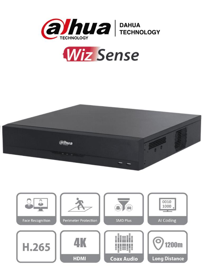 DAHUA DH-XVR5816S-I2 - DVR de 16 Canales 5 Megapixeles Lite/ WizSense/ 8 Bahías para Discos Duros/ H.265+/  2 Ch de Reconocimiento Facial/ SMD Plus/ Protección Perimetral/ Hasta 24 Canales IP (Totales)/ IoT&POS/ #LoNuevo #IADVR