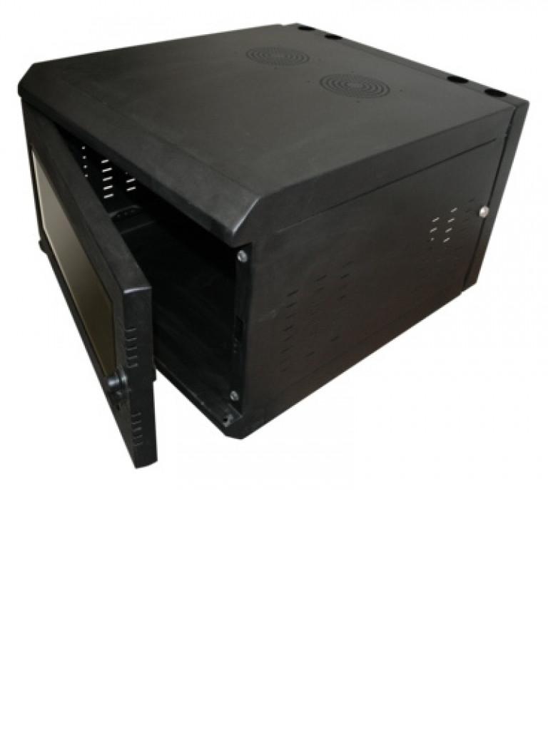LACES LA230GP6E - Gabinete de pared / 6 UR / Abatible / Equipado / Color negro / Capacidad de carga de 70  Kg