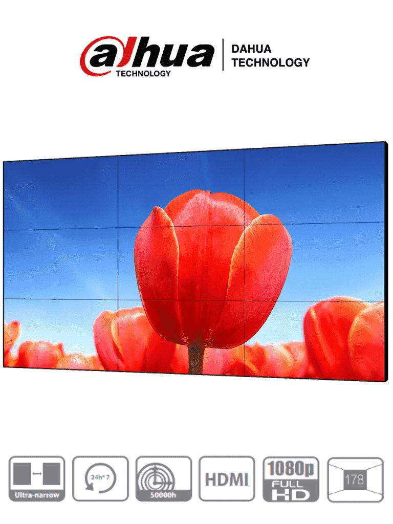 DAHUA DHL550UDM-EG - Pantalla de 55 Pulgadas FHD para Video Wall/ Panel LCD de Grado Industrial/ Ideal para Trabajar 24/7/ Marco Ultra Delgado de 1.8 mm (0.9mm Cada Marco)/ Interfaces HDMI, DVI, VGA, BNC y USB/ #ExpoTVC