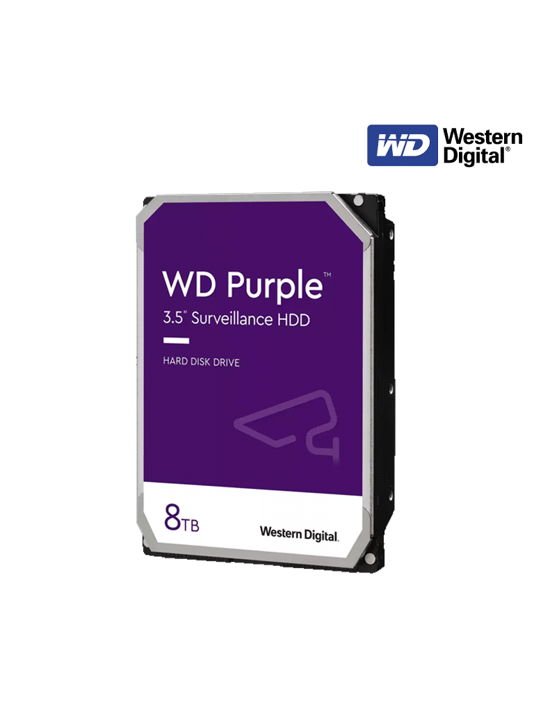 WESTERN WD84PURZ - Disco duro 8 TB / Serie PURPLE  / Recomendado para videovigilancia/3.5/ SATA III/6Gbit/s, 5640RPM, 128MB Caché