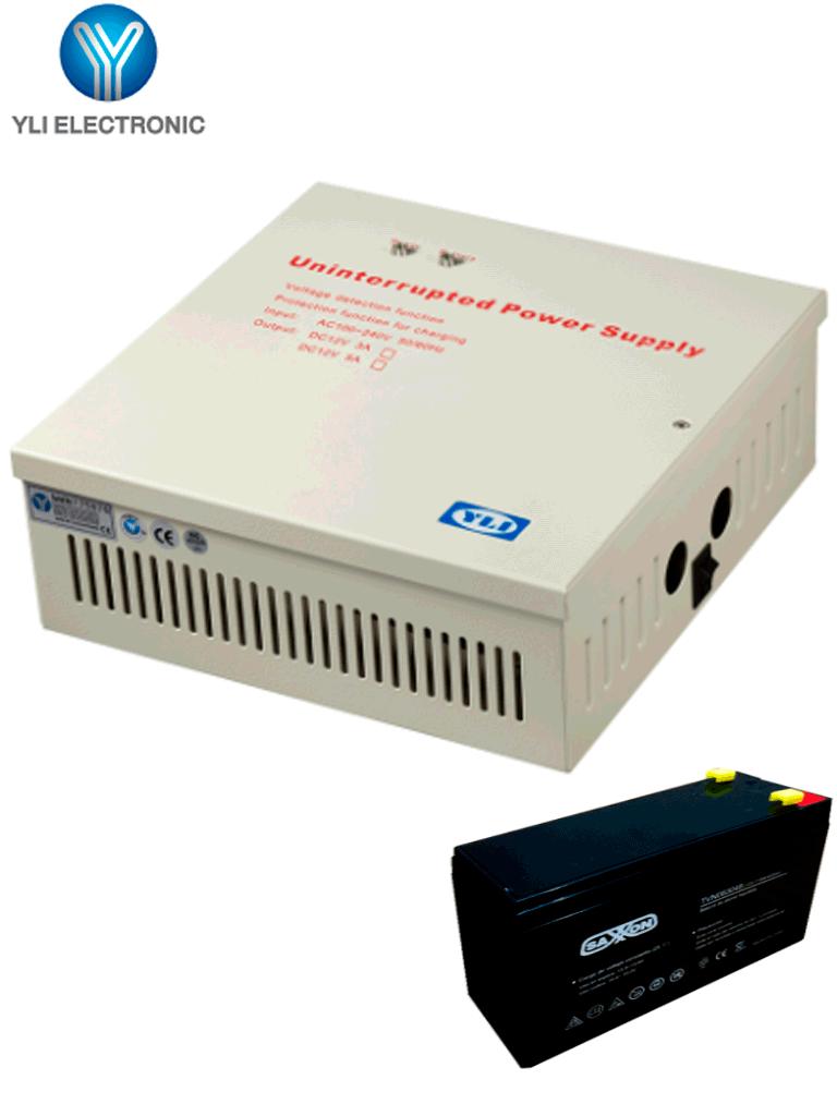 YLI YP902123BAT - Paquete de gabinete metálico con fuente de alimentación de 12VDC a 3AH indicado para control de acceso, cuenta con conexión de botón e incluye batería de respaldo de 12VDC a 7AH