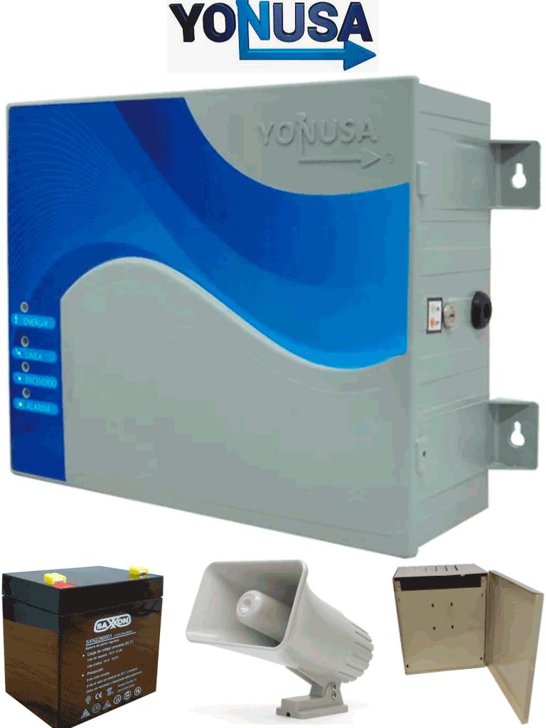 YONUSA EYNG12001BAT - Energizador de nueva generación de12,000 V con hasta 2,500 metros lineales, compatible con modulo Wifi, incluye Sirena de 30W con gabinete metálico y batería de respaldo de 12VDC a 4.5 Ah