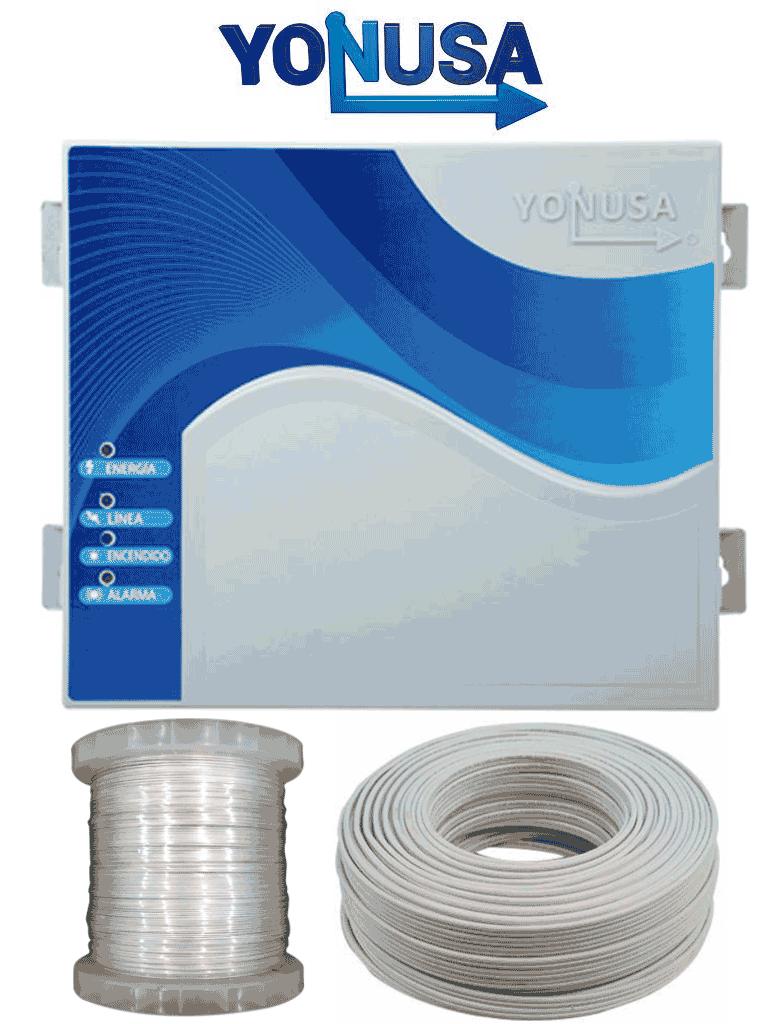 YONUSA EYNG12001AYC - Paquete de energizador nueva generación de 12,000V y 2,500 metros lineales, incluye bobina de alambre de Aluminio de 500 mts. y rollo de cable bujía de 50 mts.