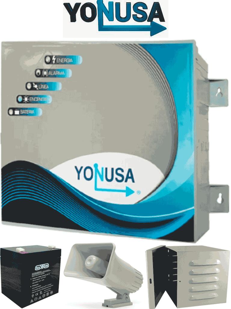 YONUSA EY10000127AFBAT - Paquete de energizador anti plantas o alta frecuencia de 10,00V con hasta 10,000 mts lineales, incluye batería de respaldo de 12VDC a 4.5 AH, sirena de 30W y gabinete metálico