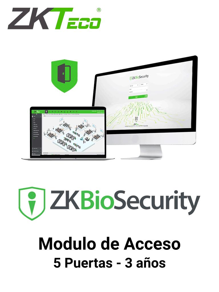 ZKTECO ZKBSAC53Y - Licencia Biosecurity para 5 Puertas en Control de Acceso/ Hasta 30 000 Usuarios / 200 Departamentos/ 200 Áreas / Vigencia 3 Años
