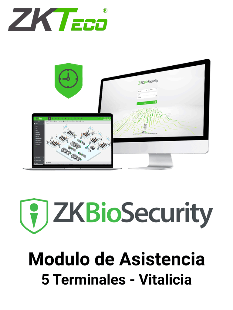 ZKTECO ZKBSTA5 - Modulo Vitalicio de Asistencia para Biosecurity / Hasta 30 000 Usuarios / 5 Terminales