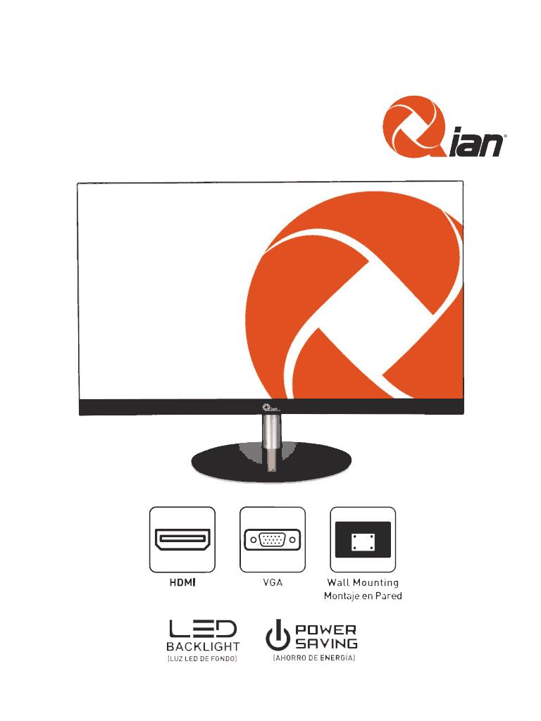 QIAN QM2381F - Monitor 23.8 LED /Framless/Full HD/VGA/HDMI/S/Marco/ 1929x1080/12 idiomas OSD/Trabajo Continuo 24/7
