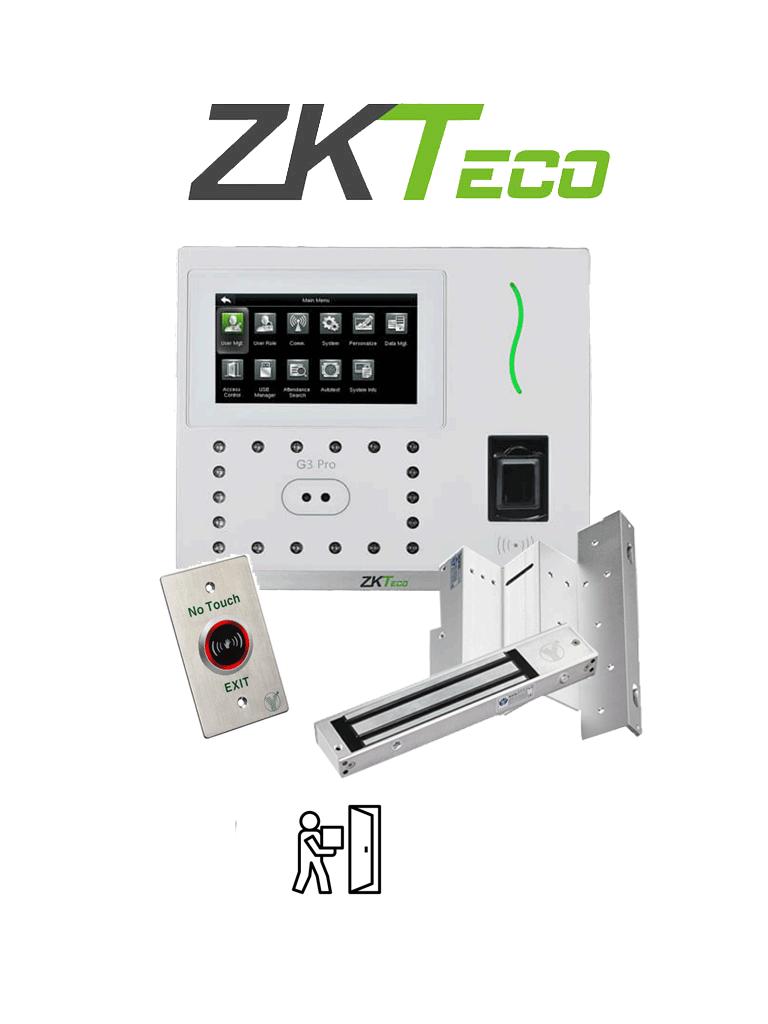 ZKTECO G3PROPACK - Paquete de control de acceso y asistencia con validación facial, palma y tarjetas ID de 125 KHz, incluye cerradura magnética de 200 Kg y soporte de fijación/ #TodoIncluido