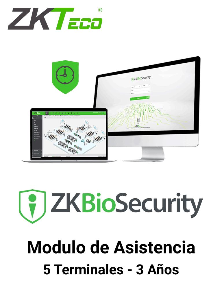 ZKTECO ZKBSTA53Y - Modulo de Asistencia para Biosecurity / Hasta 30 000 Usuarios / 5 Terminales / Vigencia 3 Años