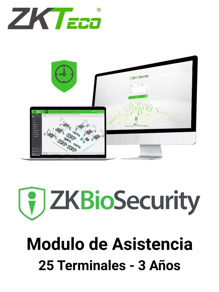 ZKTECO  ZKBSTA253Y - Modulo de Asistencia para Biosecurity / Hasta 30 000 Usuarios / 25 Terminales / Vigencia 3 años