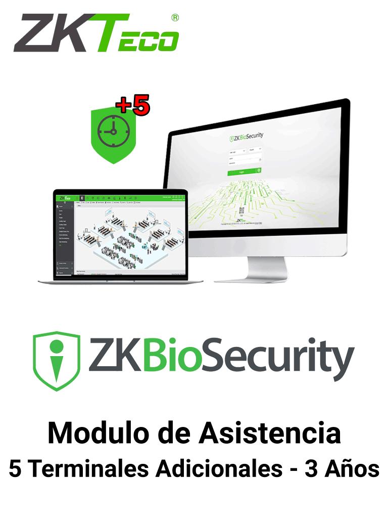 ZKTECO ZKBSTAADDONP53Y - Modulo de Asistencia para Agregar 5 Terminales adicionales en Biosecurity/ Arriba de 25 Terminales / Vigencia 3 Años