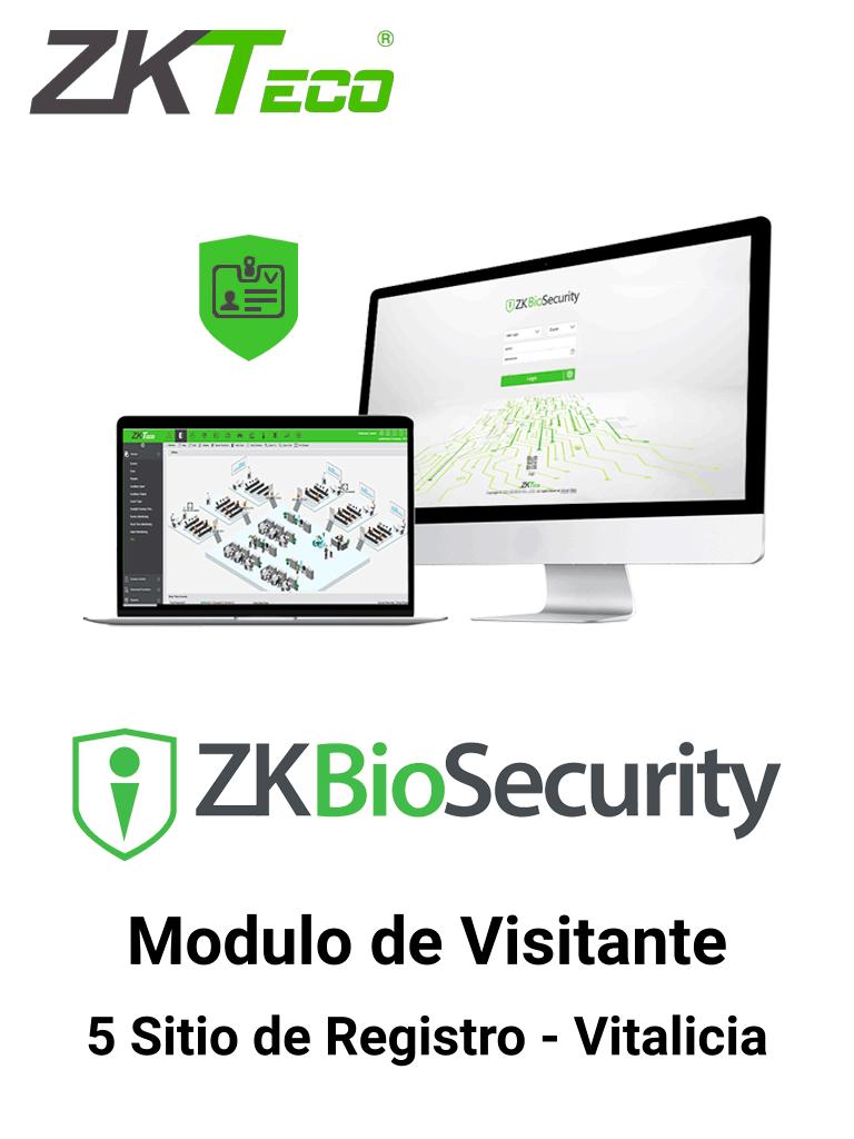 ZKTECO ZKBSVISP5 -Licencia para gestión de Visitas en Biosecurity / 10 000 Visitas por mes / Hasta 5 sitios de Registro / Vitalicia