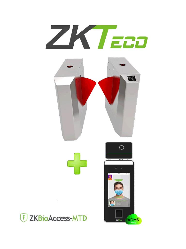 ZKTECO FBL203TI - Control de Acceso Peatonal Bidireccional / Un Carril / Acero SUS304 / Aletas Retraibles de Acrílico Personalizable / Modo de Emergencia / Terminal de Reconocimiento Facial y Palma con Medición de Temperatura incluido
