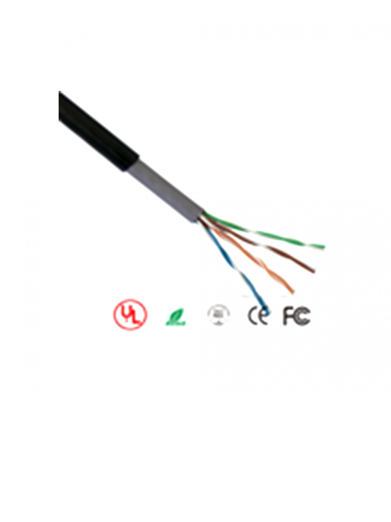 SAXXON OUTP5ECCAEXT - Cable UTP CCA / Categoria 5E / Color negro / Exterior / 305  Mts / 4 Pares / Doble forro/