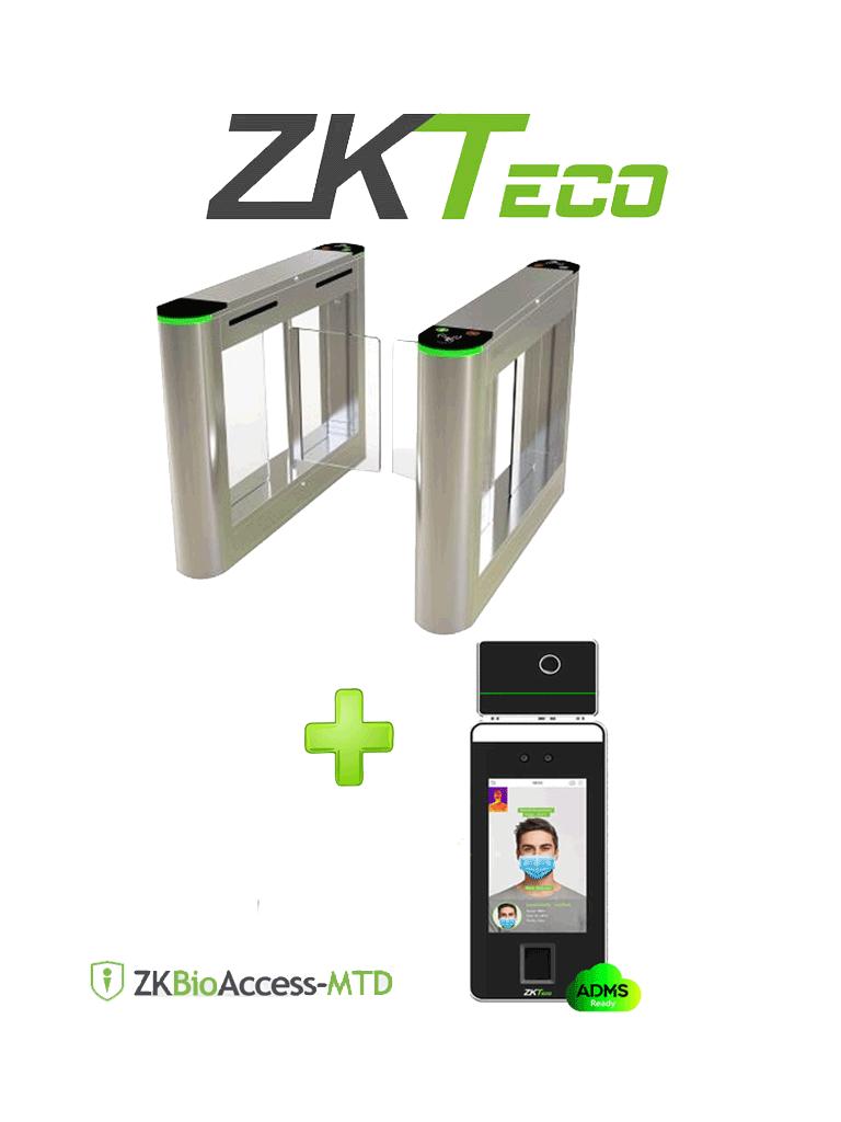 ZKTECO SBTL3SFTI - Control de Acceso Peatonal de Alto Tráfico / Acero Inoxidable / Aleta Abatible de Acrílico / Un Carril / Sistema de Emergencia / Incluye Equipo de Medición de Temperatura, Detección de Cubrebocas y Verificación Facial