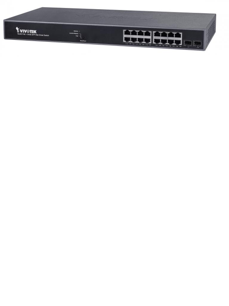VIVOTEK AWGEV184B250 - Switch  Gigabit  PoE 16 puertos GE / 2 Puertos GE SFP / 250W Totales / WEB Smart / 30W Por puerto / VIVOCAM