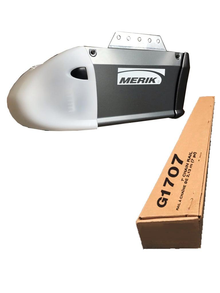 MERIK 411MPLUS - Motor de cadena / 1 / 2 Caballo de fuerza / Incluye riel tipo t 2.89 metros  G1707 / 2 Transmisores / Boton de pared / Fotoceldas / MYQ