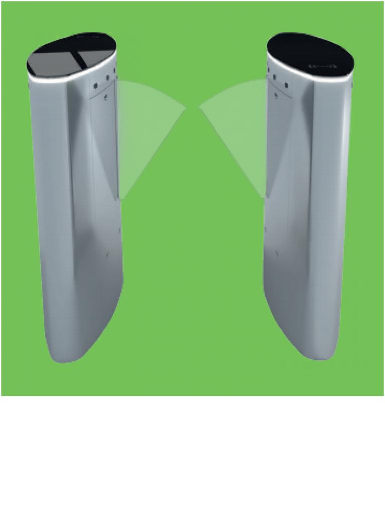 ZK FBL5022 - FLAP BARRIER Para control de acceso / Incluye panel INBIO260 PULL SDK / 20 000 Huellas / Lectores FR1200 ID / Cubierta superior de cristal templado negro