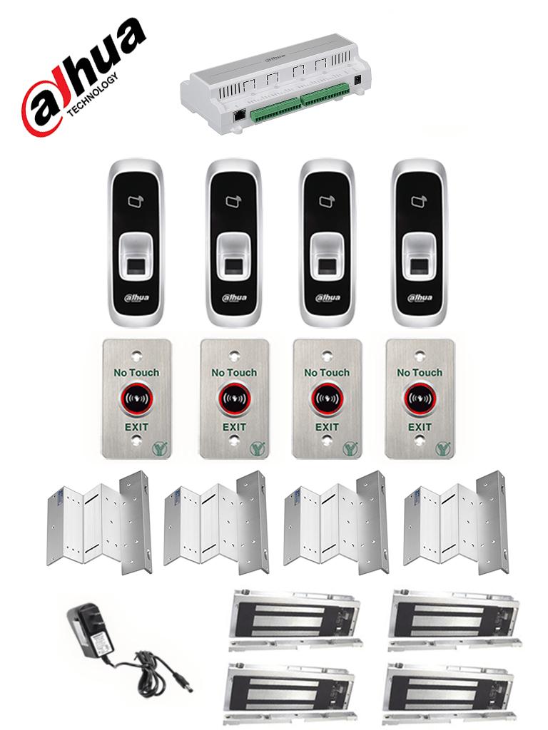 DAHUA ASC1204BPACK - Paquete de control de acceso para controlar 4 puertas con lector de entrada con huella y tarjetas ID, 4 cerraduras magnéticas YLI de 280 Kg o 600 lb con soporte en ZL para instalación y 4 botones sin contacto para salida #ExpoTVC